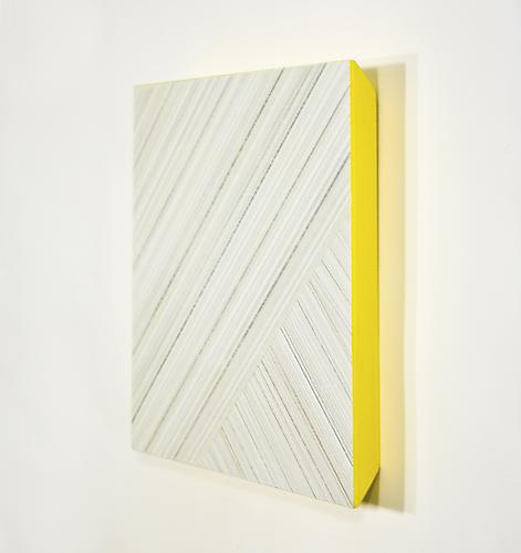 Intermezzo V, 2013 Tin/gold/copper/silverpoint, colored pencil, yellow gesso, and acrylic on paper on panel 12 x 12 inches