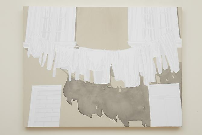 Untitled (Washline II), 2011 Acrylic on Canvas 32 1/2 x 40 inches