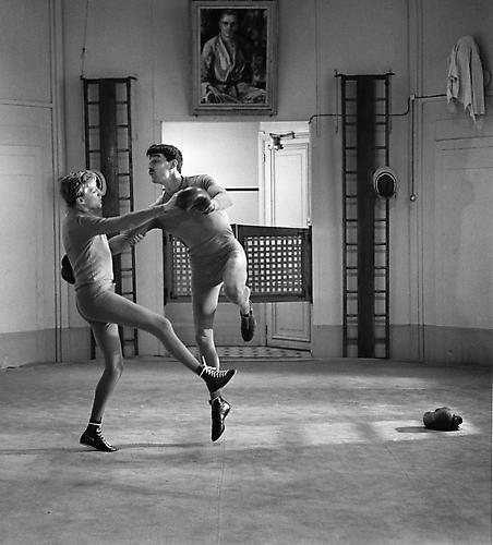 Oskar Werner and Henri Serre mimic a 1900 waltz in a boxing ring, Paris (Jules Et Jim) 1961 gelatin silver print