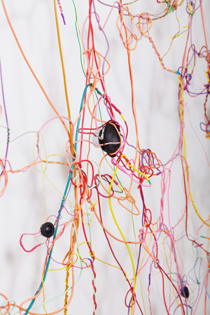 Loop , 2010, detail, speakers, wire, electronics, electronis, 8-channel soundtrack, 168 x 10 x 132 inches
