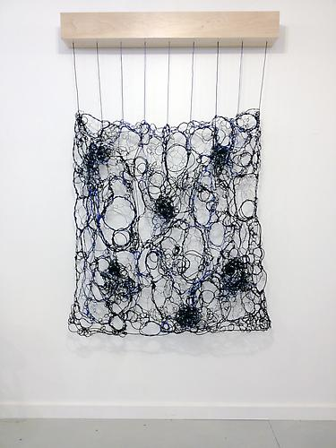 Black and Blue Woven ,  2013, wire, speakers, 4-channel 11.52, minute soundtrack, electronics, 48 x 56 x 7 inches