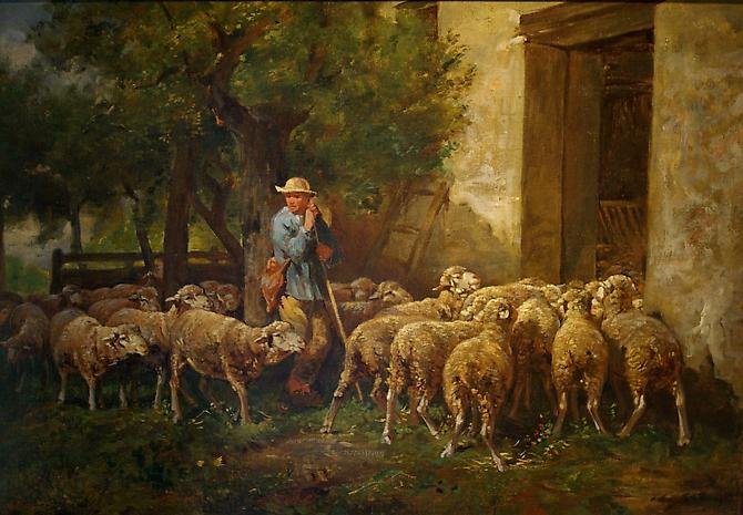 The Return of The Flock Oil on canvas,16 ½ x 23 inches (30 x 37 inches framed) Signed lower right: Ch. Jacque Price upon request