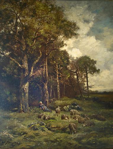 CHARLES EMILE JACQUE (French 1813-1894) Bergere au Repos dans le Foret Oil on canvas, 32 x 25 .5 inches (81 x 64.8 cm framed)  Signed lower left: Ch. Jacque