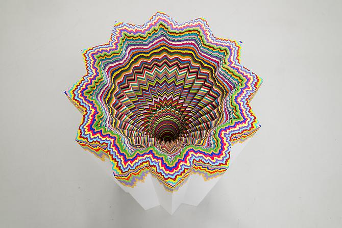 Cosmic Distortion , 2012 Hand-cut acid-free paper, glue, wood, foam board 22.5 x 22.5 x 36.5 in