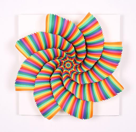 Chromatic Vortex, 2010 Hand-cut colored paper on wood 20 x 20 x 4 inches