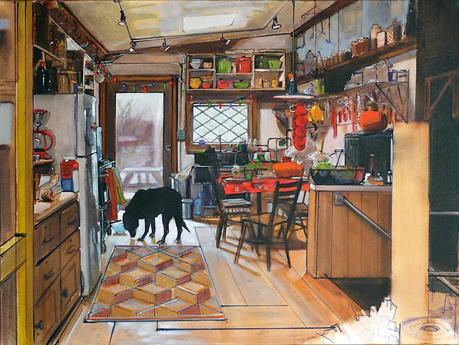 Judy Pfaff: Control Center (Kitchen with Willie) , 2013. Oil on canvas. 36 x 48 inches.