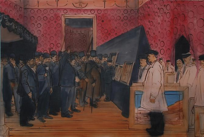 The Jury of 1865 , 2010. Oil on linen. 46 x 68 inches.