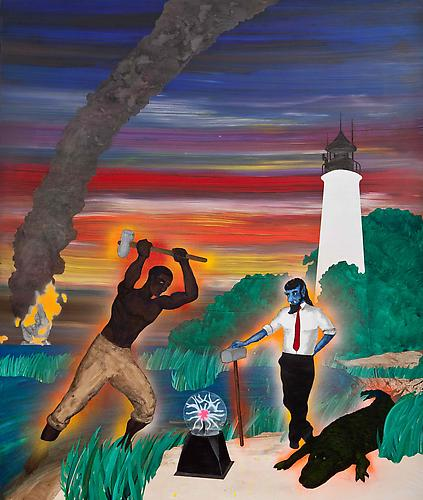 John Henry and Charun at the St. Marks Lighthouse, 2011 acrylic and enamel on panel 35 x 42 inches