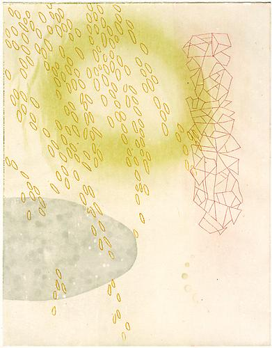 """Jung's Healer"", 2010 Aquatint and etching on hand toned gampi, chine colle 18 1/2 x 15 1/4 inches"