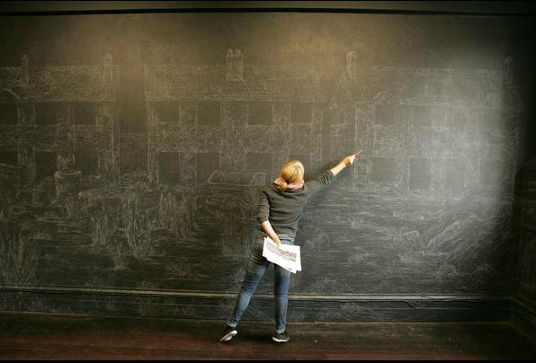 Kysa Johnson, Dublin Contemporary 2011- Terrible Beauty-Art Crisis, Change of the Office of Non-Compliance Blow Up 160 - Subatomic Decay Patterns: Picture of The Village of the Future Chalk and Chinese White on Blackboard Paint on Wall Full Room Installations, Dimensions Variable