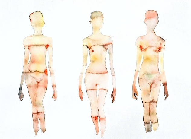 3 Figures Lighter (2012) Watercolor On Paper 22h x 30w in (55.88h x 76.2w cm)