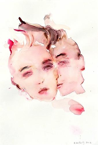Double Portrait (2012) Watercolor On Paper 22h x 15w in (55.88h x 38.1w cm)