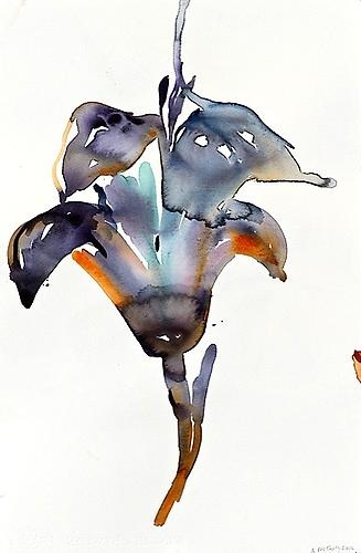 Purple Lily (2012) Watercolor On Paper 22h x 15w in (55.88h x 38.1w cm)