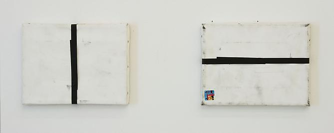 Karin Sander Mailed Painting, Left: Reykjavik-NY, Right: Berlin-Tokyo-LA-NY, 2007 diptych, each 7.09 x 9.45 inches white primed canvas