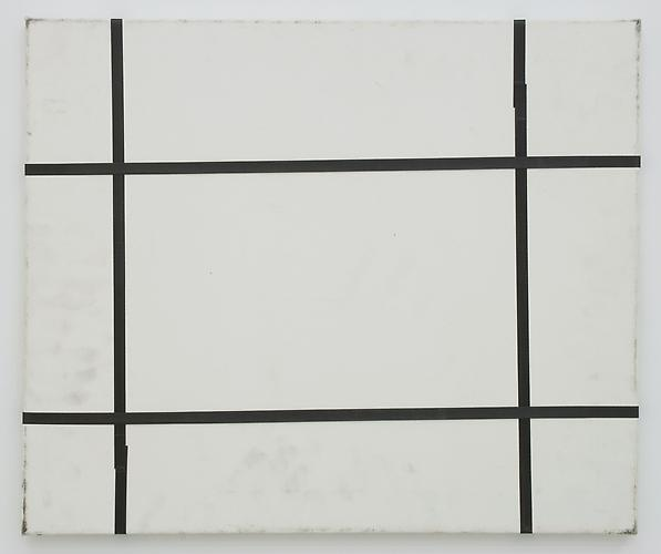 Karin Sander Mailed Painting, Berlin-New York 2006-2007  19.69 x 23.62 inches white primed canvas