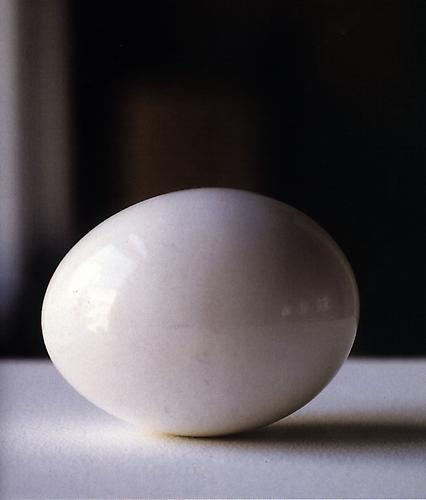 Karin Sander Chicken egg, Polished, Raw, Size 0 1994  1.57 x 3.15 x 1.57 inches raw chicken egg, pedestal, painted with wall paint, plexiglass cover