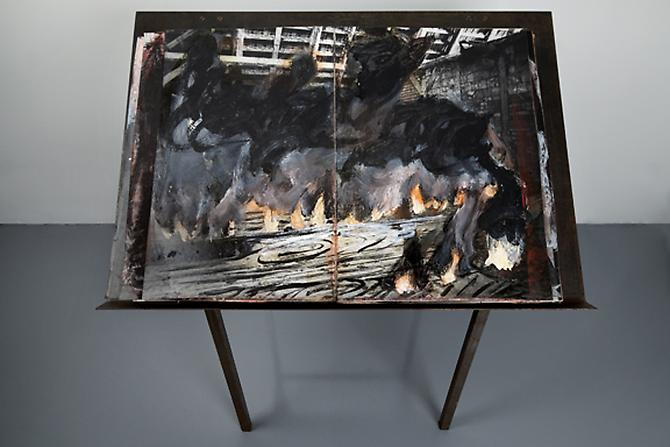 ANSELM KIEFER  Ragnarok ,  ca. 1990  Book with twenty-six double page spreads incorporating oil and acrylic on photographs mounted on board; iron stand designed by the artist  Unique, open: 23 x 34 in., irregular; closed: 23 x 17 in.; stand: 38 x 37 x 25 in.   View complete Description  ➤