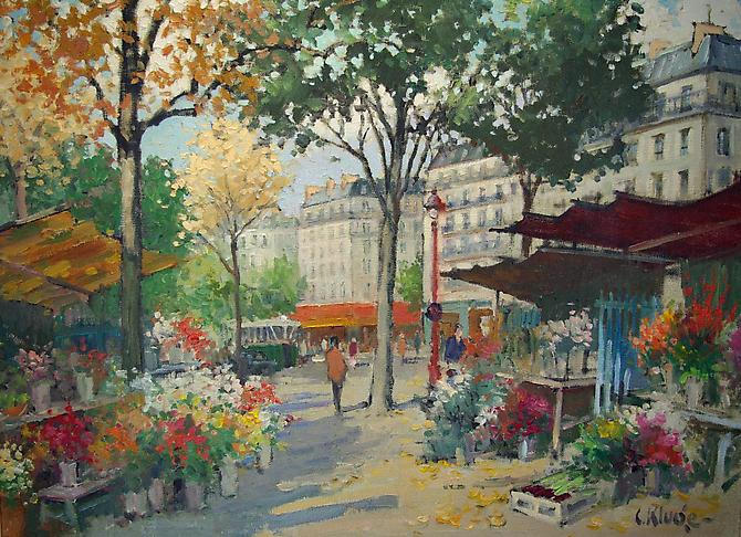 The Flower Market, Paris Oil on canvas, 28 x 36 inches (36 ½ x 44 framed) Signed lower right : C. Kluge Price upon request