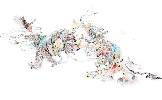 Laura Ball, Battle  (2011) Watercolor, Graphite On Paper  32h x 52w in (81.28h x 132.08w cm)