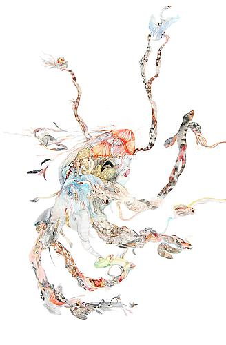 Laura Ball, Octo (2012) Watercolor, Graphite  On Paper  40h x 26w in (101.6h x 66.04w cm)