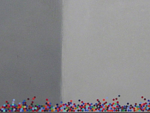 600 Dots, 1999, oil on canvas, 20 x 20 inches, (detail)
