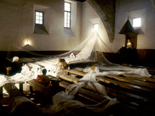 La Perfecta Cascada , 2002, installation view during performance at Old University of Salamanca, May 2002