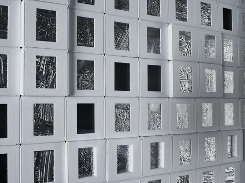 Blind Sliding , 2010, detail, drypoint on aluminum foil in 87 slide mounts, 21 x 21 inches