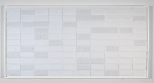 Envelopes ON/OFF , 2010, cuts on envelopes, 48 x 96 inches, 48.75 x 97 inches framed