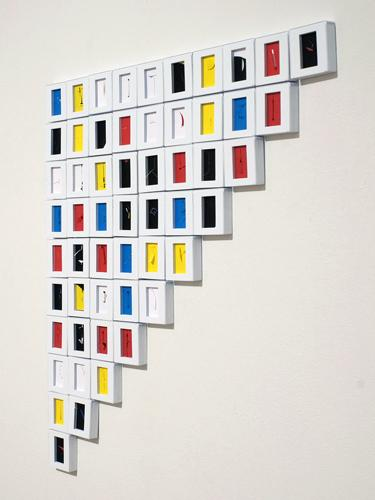 Ladder Upside Down , 2010, cuts on paper in 55 slide mounts, 20 x 20 inches