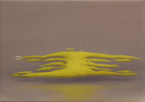 Hurricane Octopus , 2007, oil on linen, 5 x 7 inches