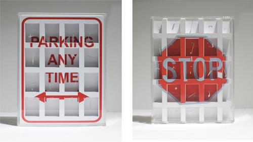 PARKING ANY TIME, STOP , 2010, cuts on paper, plexiglas, 11.5 x 9 x 2.5 inches each