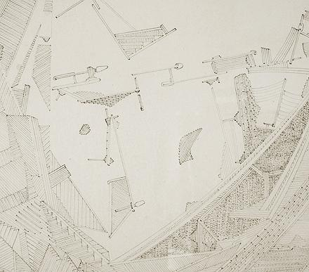 Slow Politics , detail, 2010, pencil on clayboard, 16 x 48 inches, 25 x 57 inches framed