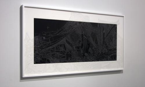 The Web is Dead , 2010, cuts on plexiglas, sintra, 31 x 61 inches