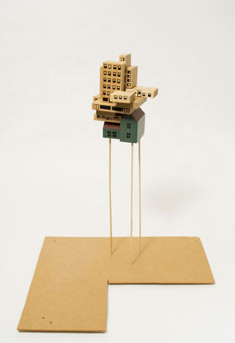 Ana Tiscornia, 2010, For the time being , Painted wood, 18.5 x 15 x 13 inches