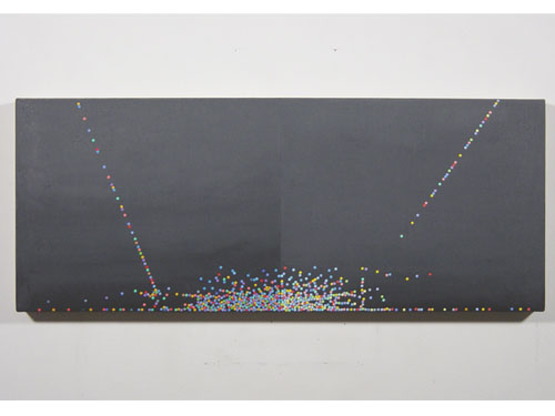 Dot Painting Bilateral , 2004, oil on linen, 12 x 30 inches