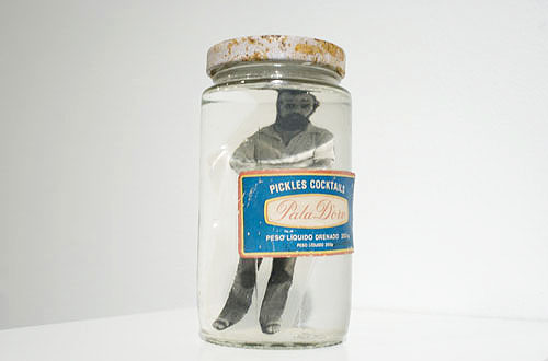 Paulo Bruscky, 1974, I'm Pickling myself  , Photograph, water, jar, 5.1 x 2.8 x 2.8 inches