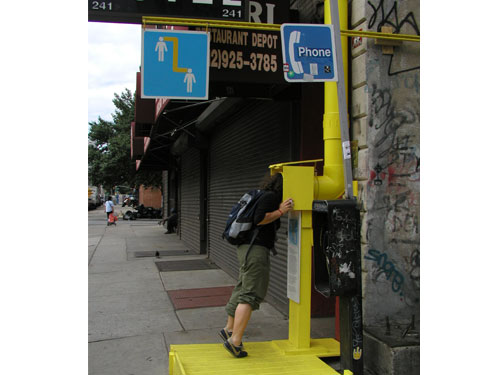 Can You Hear Me? , 2004, site-specific installation, The Sunshine Hotel, New York, NY, PVC pipe, mirror, wood, existing architecture and public phone, metal sign, participants, 39 x 10 x 15 feet commission, The New Museum, New York, NY