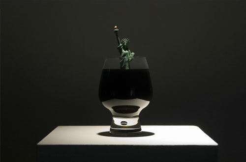 Jota Castro, 2006, Cheers , Glass, oil, statute , 9 x 4.5 x 4.5 inches