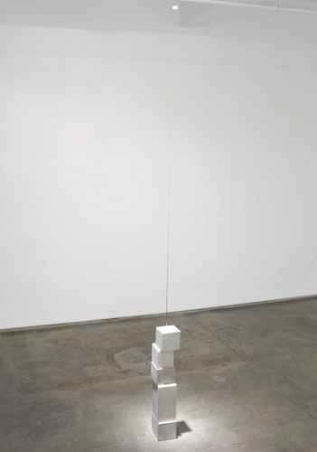 Flag , 2007, cement, steel wire, plastic, clock movement