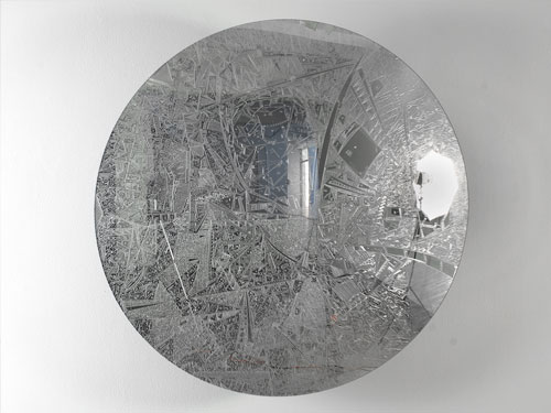 Global Myopia (Parking Mirror) , 2010, cuts on 36 inch convex mirror