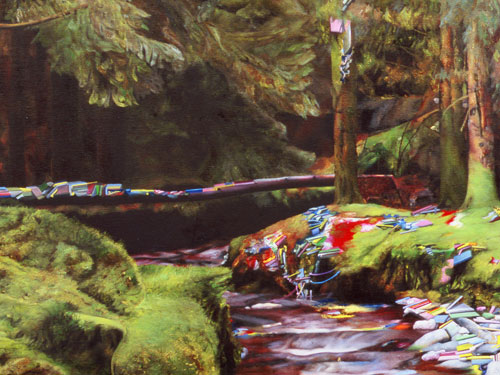 Gorten Glen Forest Park, Ireland (detail) , 2005, oil on canvas, 56 x 48 inches