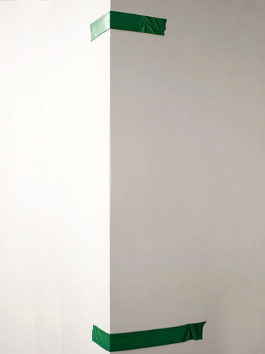 Green Tape to Hold the Wall , 2011, oil on paper, top: 2 x 16 inches, bottom: 2 x 11.5 inches