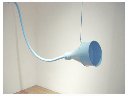 How Deep Is Your , 2003, site-specific installation with sound, P.S. 1 Museum, Queens, NY, plastic and PVC tubing, recorded soundtrack and CD player, funnel, mirror, LED lights, existing architecture