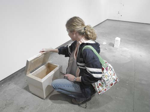 Open , 2007, maple, hardware, electronics, soundtrack, (box made by Ken Landauer)