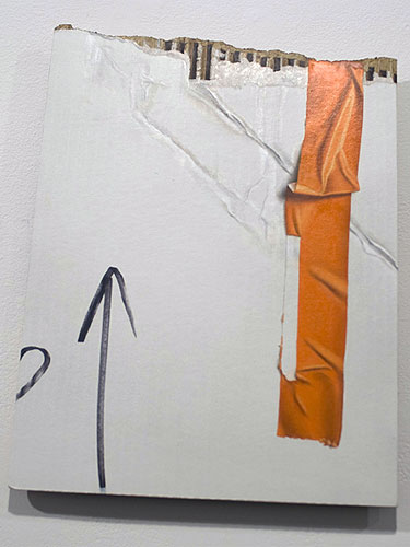 Orange Tape with Arrow , 2011, oil on cardboard, 14.5 x 11.75 inches