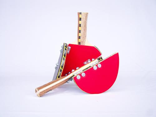 Ping Pong Raquets , 2008, metal and wood, dimensions variable