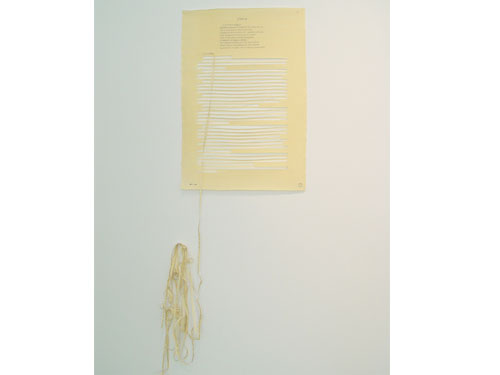 Nine Broken Letters, Letter #9 , 2004, graphite and silk on yellow tracing paper, 23 x 17.5 inches