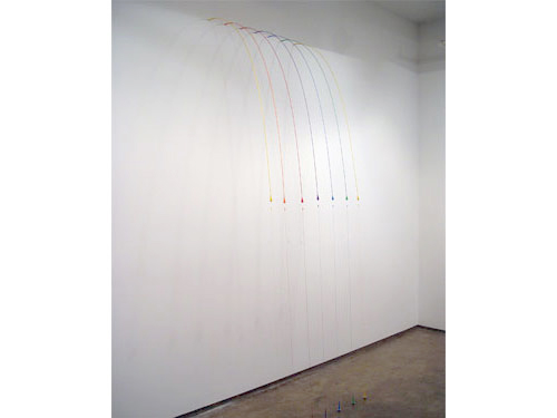 Spectrum , 2004, magnets, wire, plastic, thread, washers, 112 x 40 x 29 inches