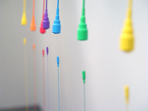Spectrum , 2004, detail, magnets, wire, plastic, thread, washers, 112 x 40 x 29 inches