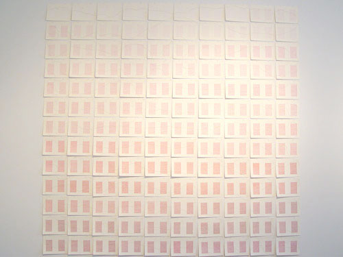 Unfinished Letter to a Young Daughter , 1999, ink and gold thread on paper, 130 units, 97 x 94.5 inches (7 x 9 inches each)